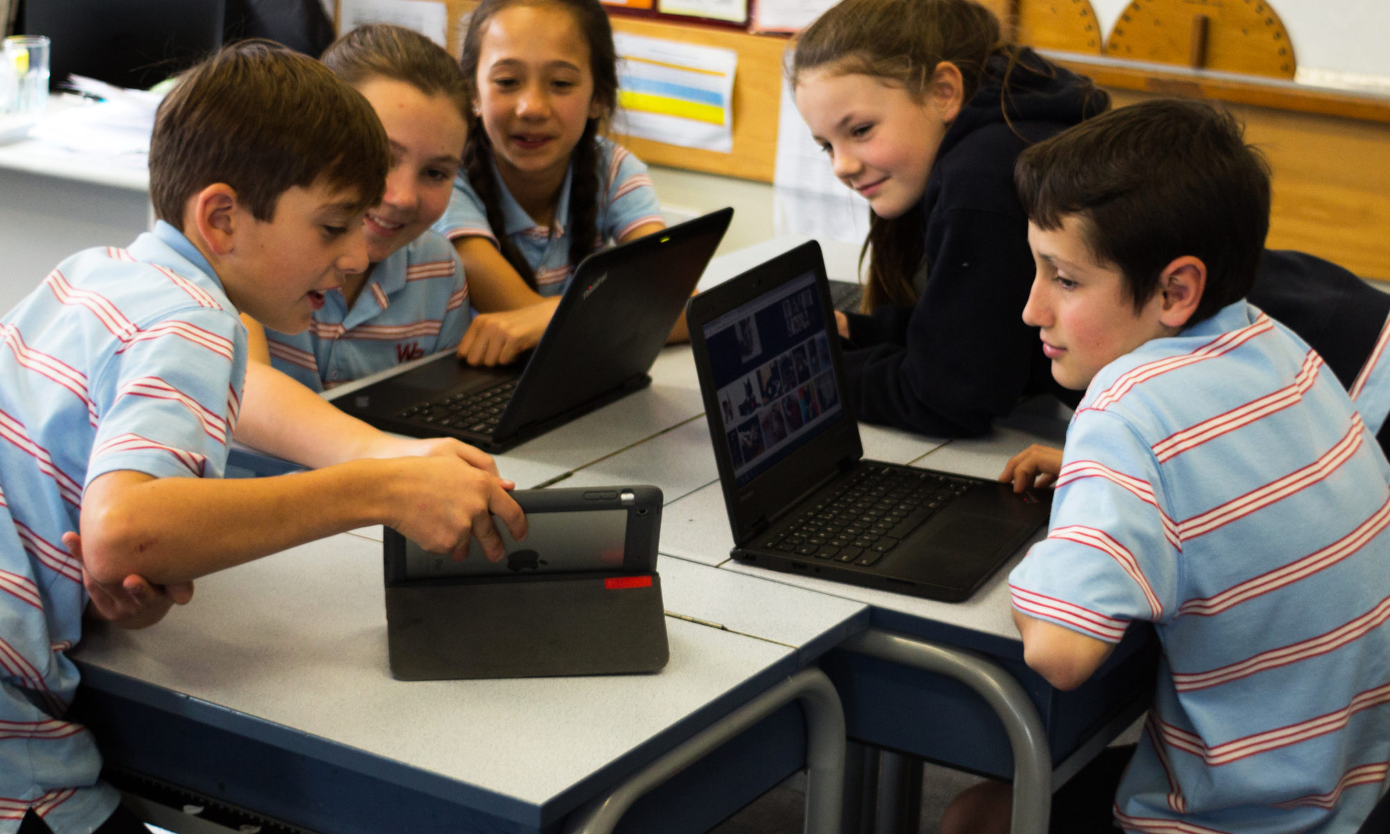 Using technology in the classroom for learning at Wadestown School.