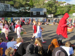 Red Riding Hood leading the book character parade.